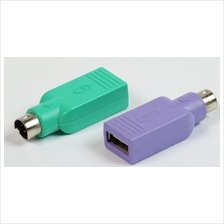 USB to PS2 PS/2 Mouse Keyboard Adapter Converter 1 pair purple green