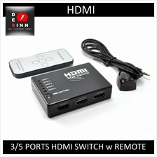3 Ports HDMI Switch Selector Switcher Splitter Hub with Remote Control