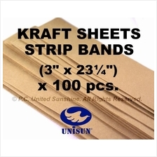 x100pcs LONG BROWN KRAFT PAPER SHEET BAND STRIP for Arts Craft Packing