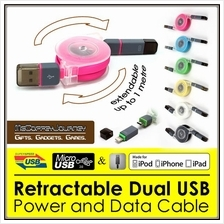 Retractable 2-in-1 (Micro-USB & Lightning) USB Cable for Power & Data