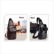 Men High Quality PU Leather Backpack Chest Shoulder Sling Bag