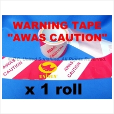 WARNING CAUTION AWAS TAPE 72mm x 50m (55Y) Red/White LONG Hazard Floor
