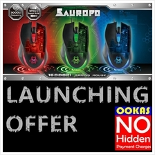 CLIPTEC SAUROPO 1600dpi Gaming Mouse RGS560 28IPS 20g Iron
