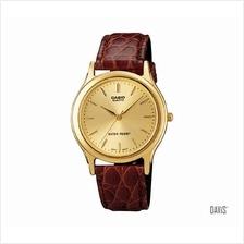 CASIO MTP-1093Q-9A STANDARD Analog strike leather strap watch gold