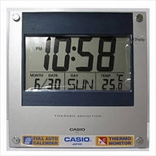 CASIO ID-11S-2 digital calendar thermo large wall clock silver blue