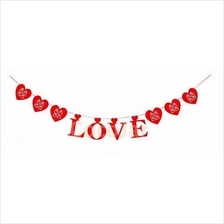 Wedding Room Decoration Love Shape Xi Banner with Hearts