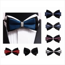 Men Bridegroom Elegant Wedding Handmade Bow Tie Diamond Adjustable