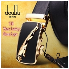 DOULILU Men Genuine Leather Automatic Buckle Waist Belt Tali Pinggang)