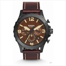 FOSSIL JR1502 Men's Nate Chronograph Leather Strap Dark Brown