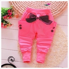 Baby Leggings / Long Pants - Peach Diva Ribbon Pant)