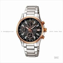 CASIO SHN-5016D-1A SHEEN chronograph SS bracelet black gold *Match*