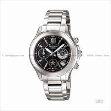 CASIO SHN-5509D-1A SHEEN chronograph sapphire SS bracelet black