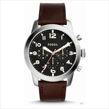 FOSSIL FS5143 Men's Pilot 54 Chronograph Leather Strap Black Brown