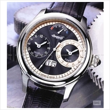 INGERSOLL IN3604BK Automatic Hudson Dual Time M-Black Leather LE