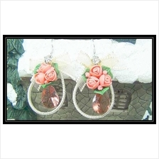 Fashion Handmade Korean Earrings With Maroon Crystals & Red Flowers