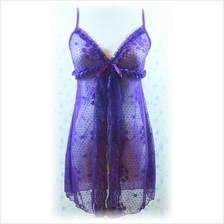Sexy Transparent Purple Floral & Open Lace Babydoll With Matching