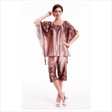 Sweet Brownish Silver Butterfly Sleeve Pyjamas With Matching 3/4 Pants