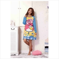 Cute Angry Bird  & Friends With Blue Long Sleeve Nightshirt