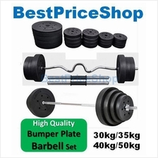 Top Grade Bumper Barbell Dumbbell Weightlifting Bar Gym Set 22~50kg