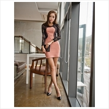 Fashion Joint Lace Design Cardigan With Slim Dress