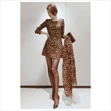 Fashion Leopard Printed Puff Sleeve Slim Dress (Without Scarf)