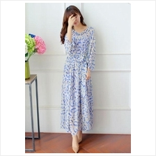 Fashion V Neck Puff Sleeve Chiffon Maxi Dress