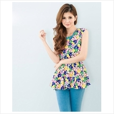 Trendy Basic Floral Design Chiffon Top