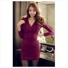 Fashion Deep V Long Sleeve Slim Dress