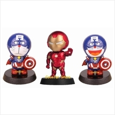 Solar Bobblehead Iron Man Captain America Doraemon Car Toys Gift