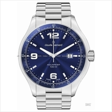 Claude Bernard . 70165 3 BUIN . Aquarider (M) Date SS Bracelet Blue