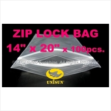 "ZIP LOCK BAG 14"" x 20"" x 100 pcs. Resealable Plastic Bags NEW SIZE!"