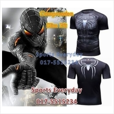 Super Hero Slim Fit Compression Shirt baju - Spiderman Black Short