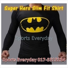 Super Hero Slim Fit Compression Shirt baju - Bat Man 5 Long Sleeve
