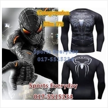 Super Hero Slim Fit Compress Shirt Baju- Spiderman Black Long Sleeves