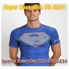 Super Hero Slim Body Fit Compression Shirt baju - Super Man 5(elastic)