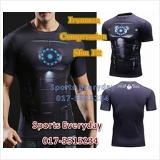 Super Hero Slim Fit Compression Shirt baju- Ironman Black Armor Armour