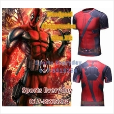 Super Hero Slim Fit Compression Shirt baju - Deadpool Short Sleeves