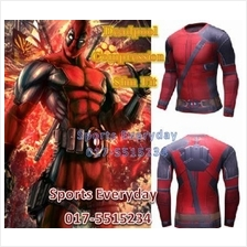 Super Hero Slim Fit Compression Shirt baju - Deadpool Long Sleeves 1