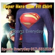 Super Hero Slim Fit Compression Shirt baju - Super Man 11 Long Sleeve