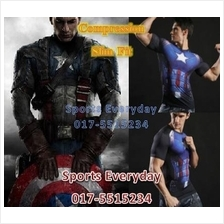 Super Hero Slim Fit Shirts baju - Captain America Short Sleeves 1