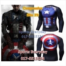 SuperHero Slim Fit Shirts baju - Captain America Long Sleeves