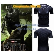SuperHero Slim Fit Compression Shirt Baju Black Panther Short Sleeves