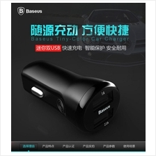 Original BASEUS TINY COLOR Dual USB 2.1A 1A F Car Charger Adapter