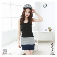 Fashion Three-Tone Sleeveless Slim Mini Dress