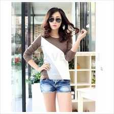 Trendy Mix Color Lady Casual Long Sleeve Top