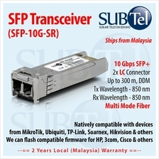10Gb/s 300m SFP Plus (SFP+) Transceiver 850nm MMF 10GBASE-SR Ubiquiti