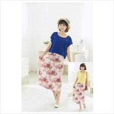 Maternity Nursing 2 Piece Floral Printed Dress - Chiffon Cover with Pocket)
