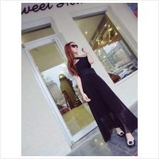 Fashion Two-Piece Sexy Cross Design Top With Pleated Long Skirt