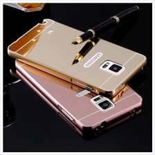 Samsung Note 2 3 5 J5 J7 S7 EDGE S5 Mirror Metal Bumper Case Tempered