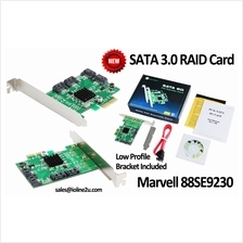 4-port PCI-e SATA 6G Raid Controller Card High/Low Profile Bracket Marvell 88S